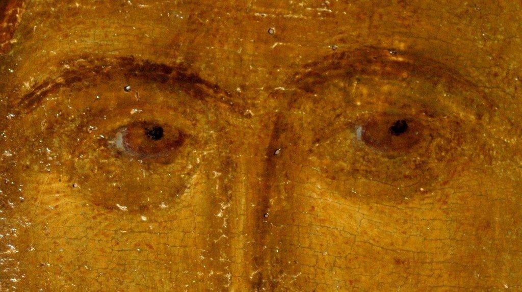"""Фрагмент иконы """"Христос Пантократор (Вседержитель)"""". Византия, XIV век. Сербский монастырь Хиландар на Афоне."""