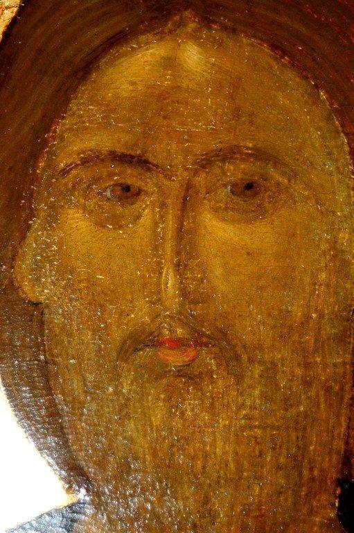 """Лик Спасителя. Фрагмент иконы """"Христос Пантократор (Вседержитель)"""". Византия, XIV век. Сербский монастырь Хиландар на Афоне."""