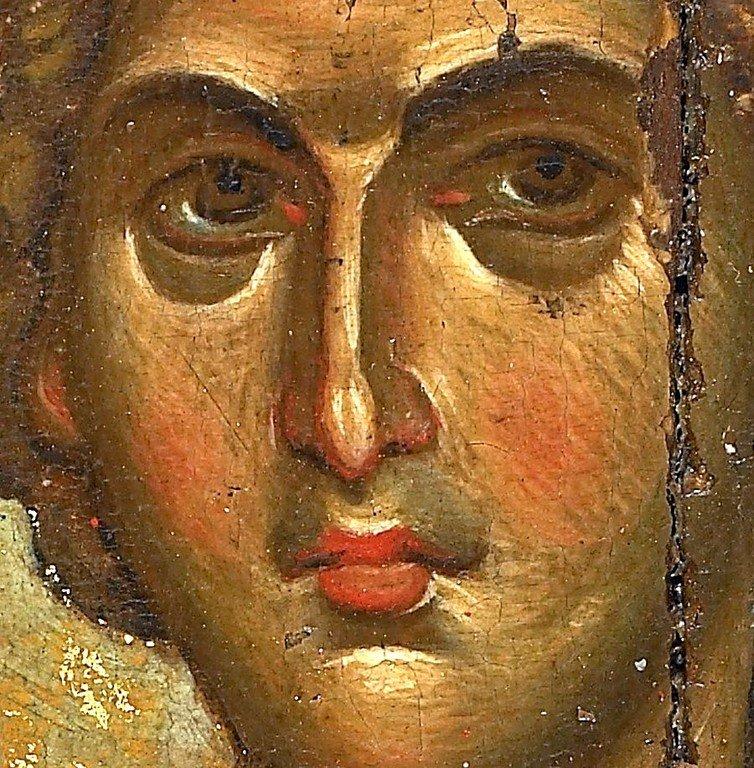 Святой Пророк Даниил во рву львином. Византийская икона XIV века. Монастырь Ватопед на Афоне. Фрагмент.