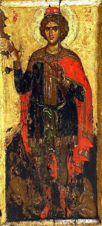 Святой Пророк Даниил во рву львином. Византийская икона XIV века. Монастырь Ватопед на Афоне.