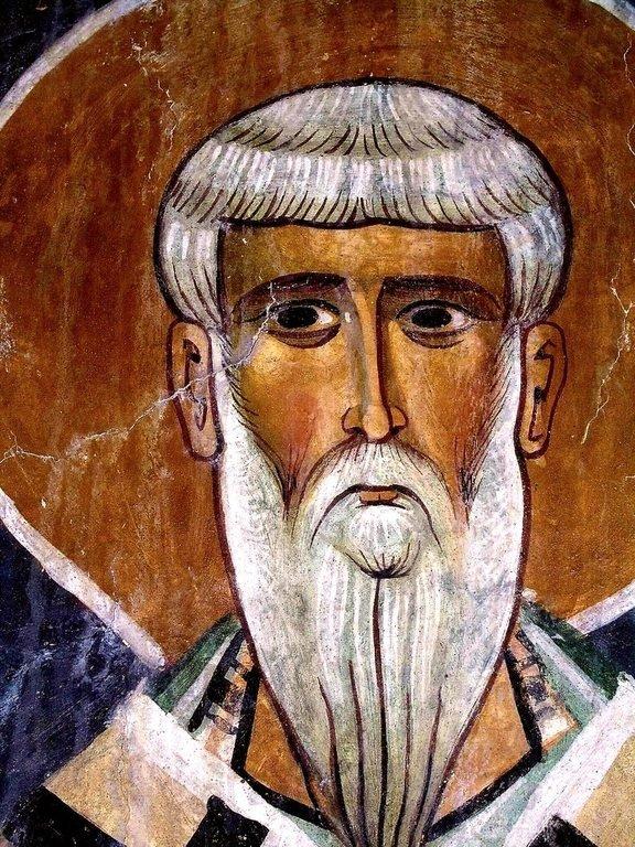 """Священномученик Игнатий Богоносец. Фреска церкви Святого Николая """"тис стегис"""" (""""под крышей"""") на Кипре."""