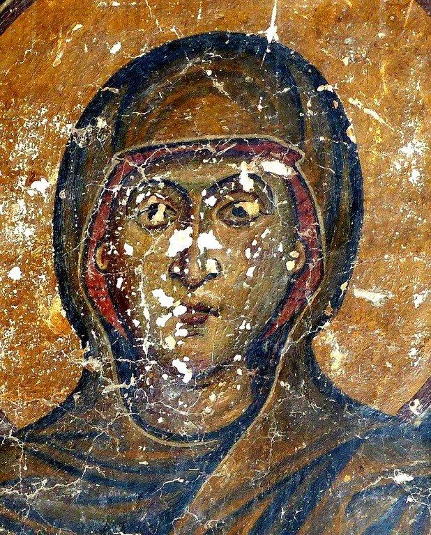 Святая Великомученица Анастасия Узорешительница. Фреска церкви Святых Врачей (Космы и Дамиана) в Кастории, Греция. XII век.