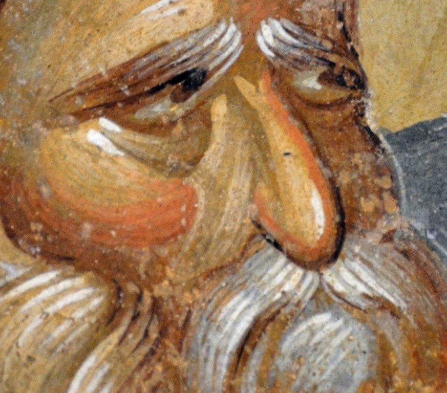 Святой Праотец Адам. Фреска монастыря Хора в Константинополе. 1315 - 1321 годы.