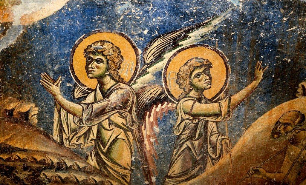 Рождество Христово. Фреска церкви Святого Георгия в Курбиново, Македония. 1191 год. Фрагмент.