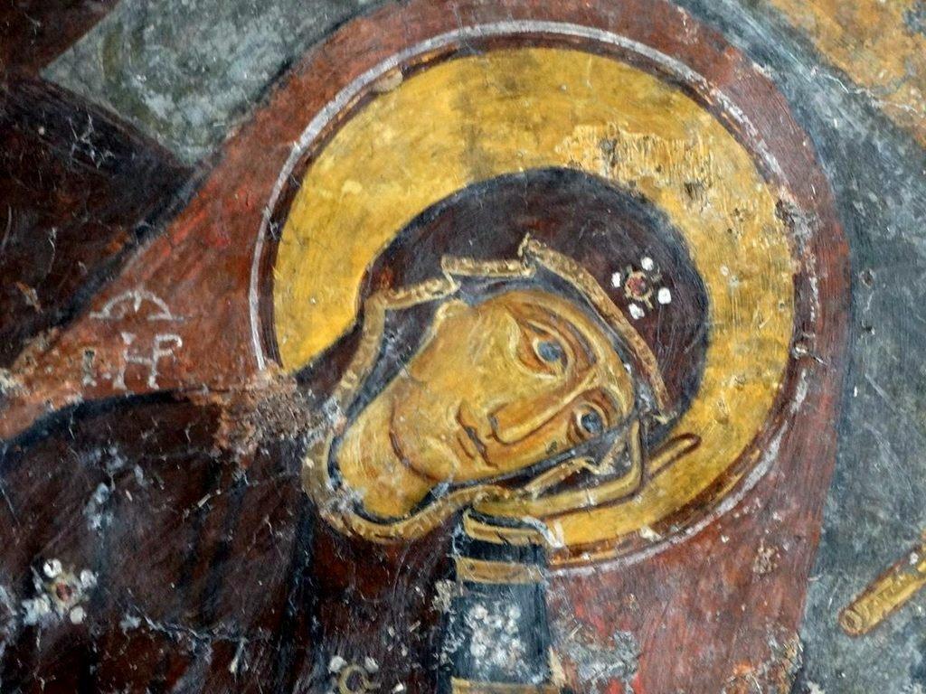 Рождество Христово. Византийская фреска в церкви Святого Иоанна Златоуста в Гераки, Греция. Фрагмент.