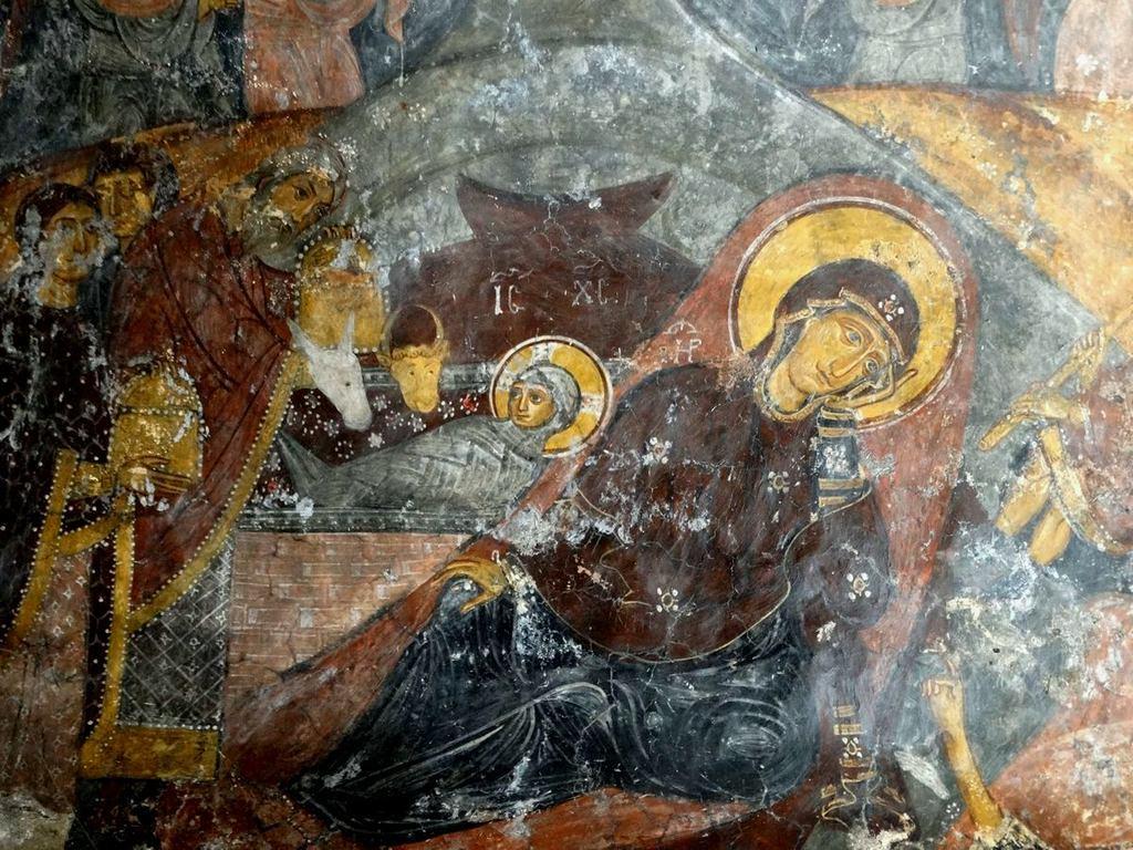 Рождество Христово. Византийская фреска в церкви Святого Иоанна Златоуста в Гераки, Греция.