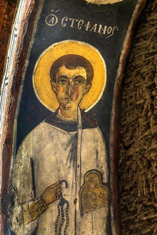 Святой Апостол от Семидесяти, Первомученик и Архидиакон Стефан. Фреска монастыря Эски Гюмюшлер, Каппадокия.