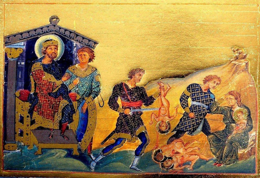 Избиение Вифлеемских младенцев. Миниатюра Минология (месяцеслова) императора Василия II. Византия, 985 год.