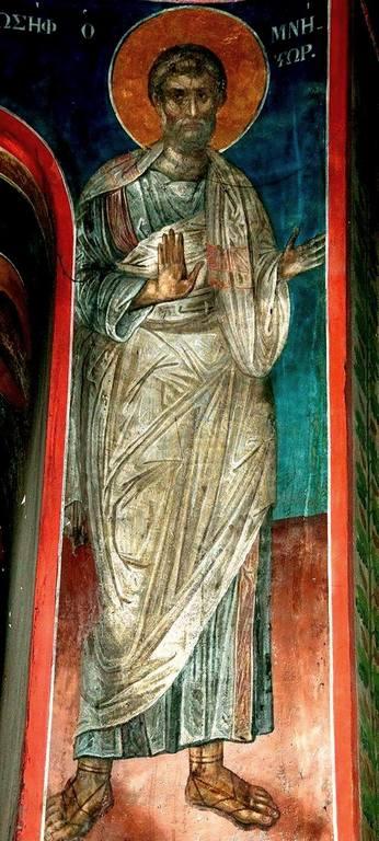 Святой Праведный Иосиф Обручник. Фреска монастыря Пантократора на Афоне. 1363 год.