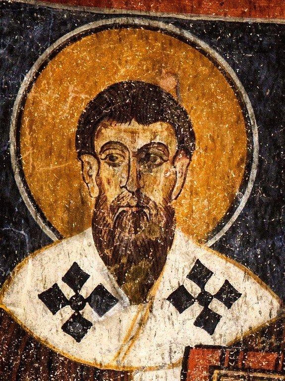 Святитель Василий Великий. Фреска монастыря Эски Гюмюшлер в Каппадокии.