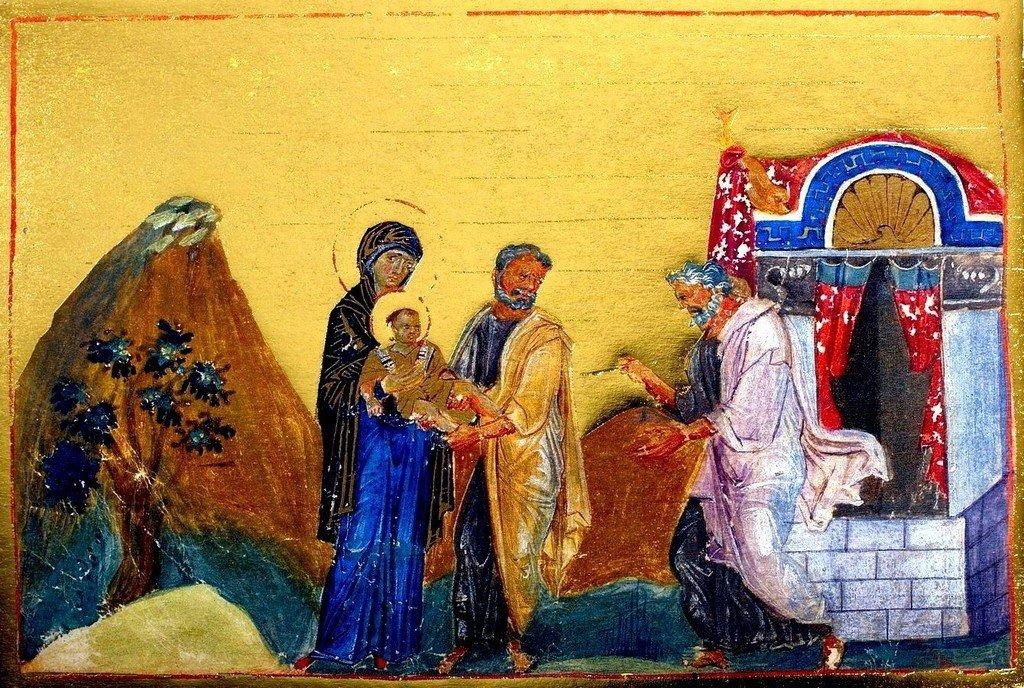 Обрезание Господне. Миниатюра Минология (месяцеслова) императора Василия II. Византия, 985 год.