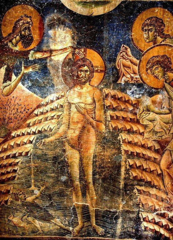 Крещение Господне. Фреска церкви Святого Георгия в Курбиново, Македония. 1191 год. Фрагмент.
