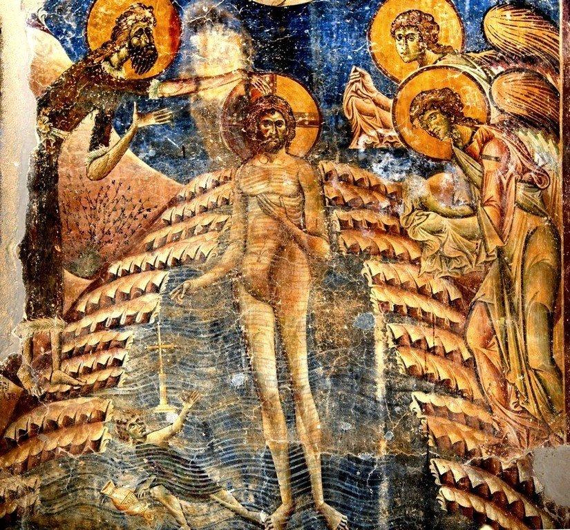 Крещение Господне. Фреска церкви Святого Георгия в Курбиново, Македония. 1191 год.