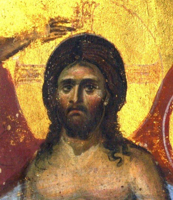 """Крещение Господне. Миниатюра """"Трапезундского Евангелия"""". Византия, 1140 - 1160 годы. Лик Спасителя."""