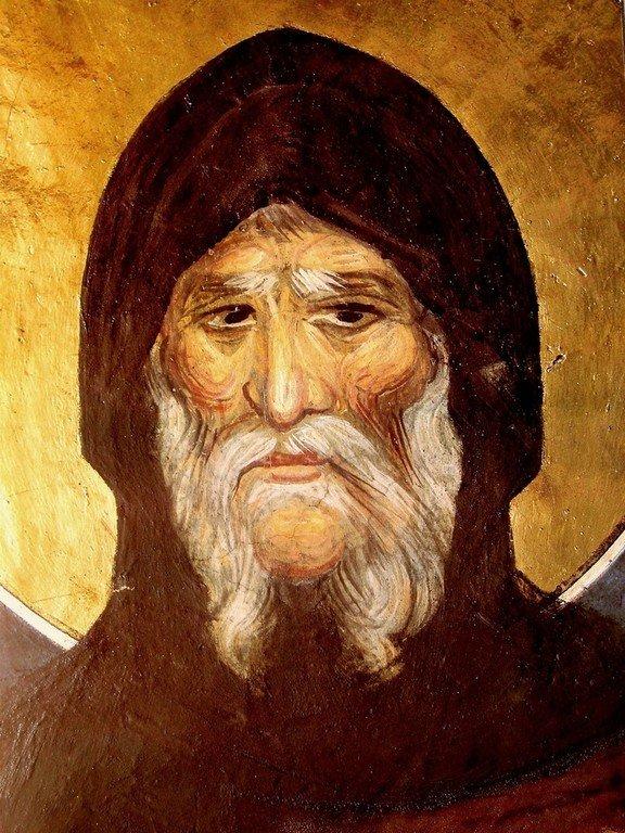 Святой Преподобный Антоний Великий. Фреска монастыря Пантократора на Афоне. 1363 год.