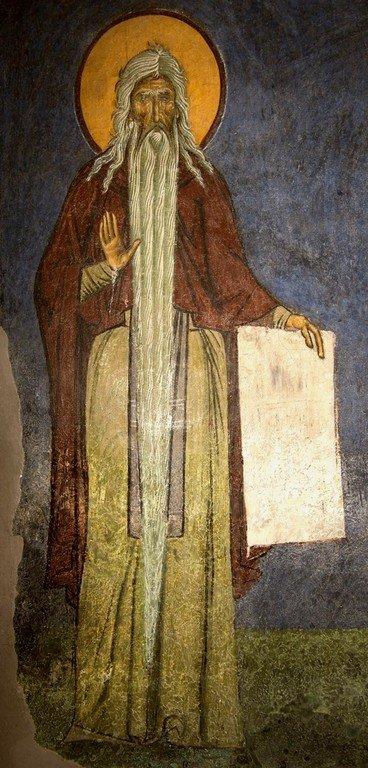 Святой Преподобный Макарий Великий. Фреска церкви Святого Пантелеимона в Нерези близ Скопье, Македония. 1164 год.