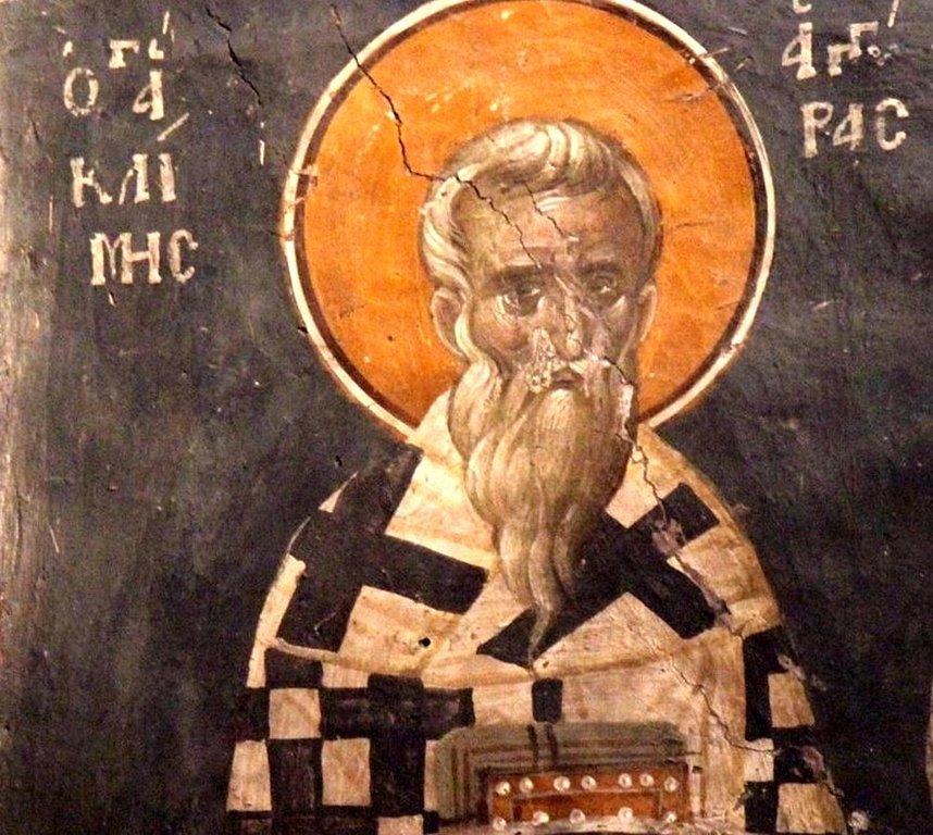 Священномученик Климент Многострадальный, Епископ Анкирский. Фреска церкви Святого Николая Орфаноса в Салониках, Греция. 1310 - 1315 годы.