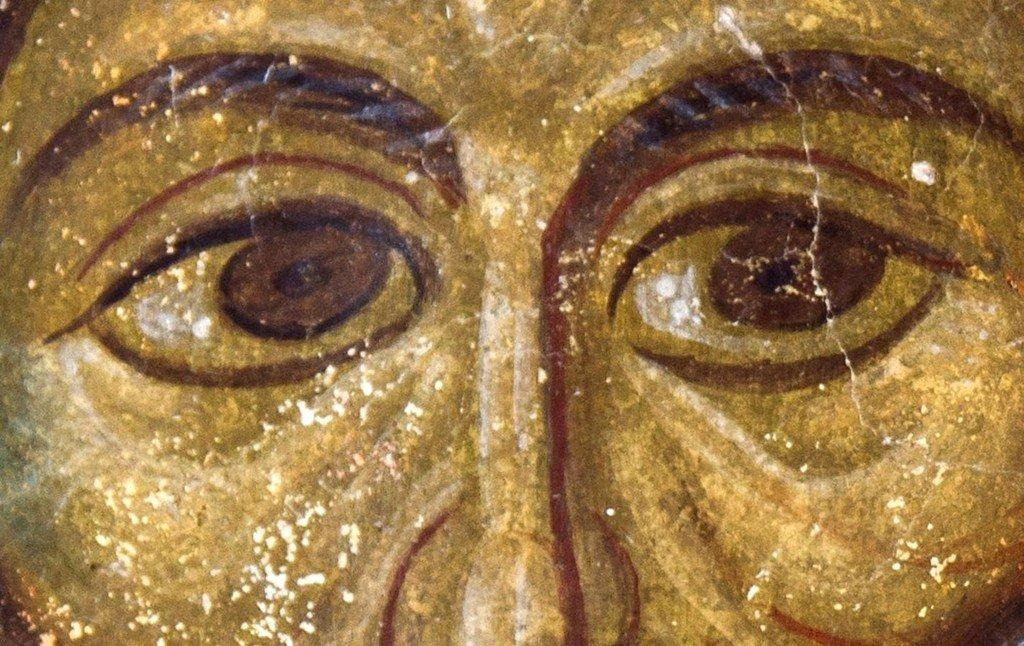 Пресвятая Троица. Фреска церкви Панагии Кубелидики в Кастории, Греция. Около 1260 - 1280 годов. Фрагмент.