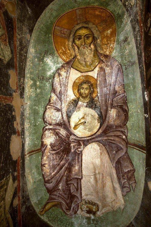 Пресвятая Троица. Фреска церкви Панагии Кубелидики в Кастории, Греция. Около 1260 - 1280 годов.