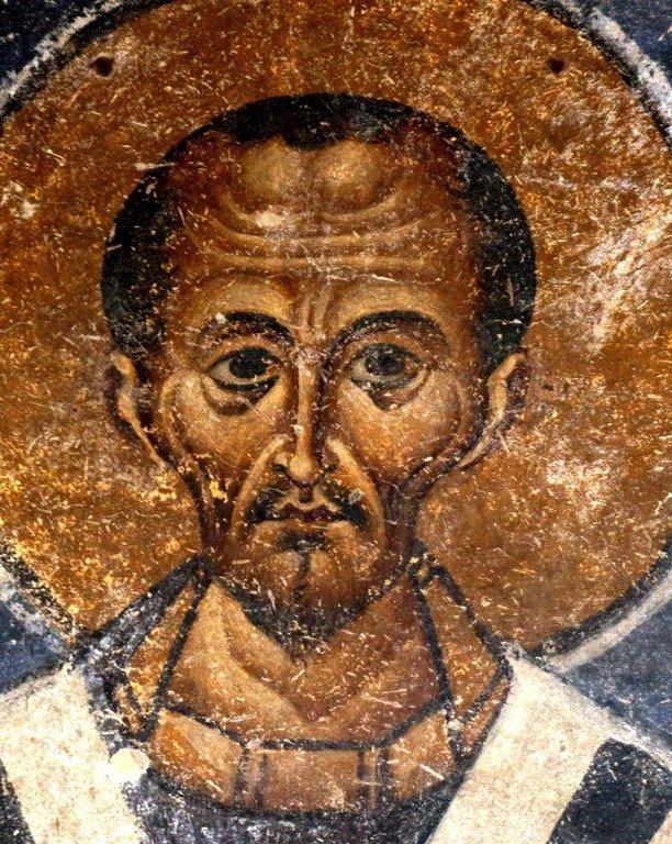 Святитель Иоанн Златоуст. Фреска собора Святой Софии в Охриде, Македония. XI век.