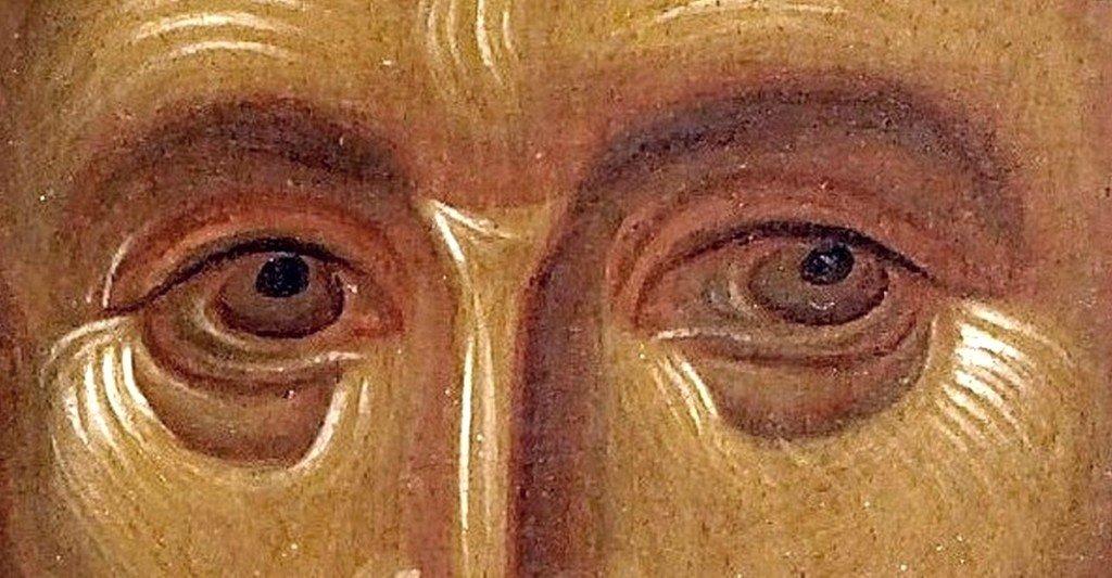 Святитель Иоанн Златоуст. Византийская икона XIII века. Монастырь Ватопед на Афоне. Фрагмент.