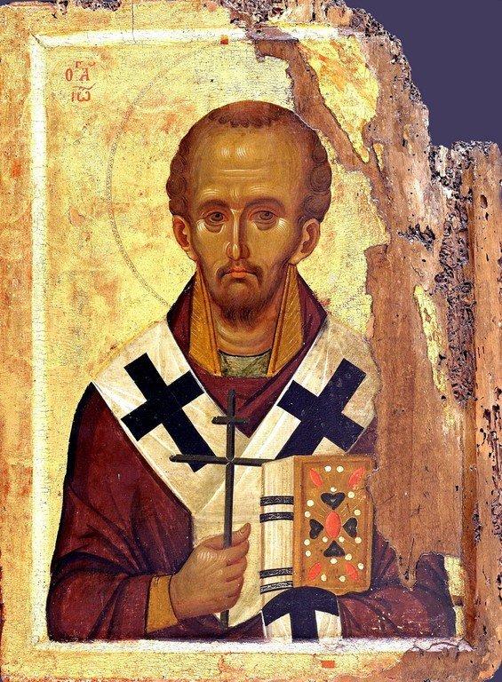 Святитель Иоанн Златоуст. Византийская икона XIII века. Монастырь Ватопед на Афоне.