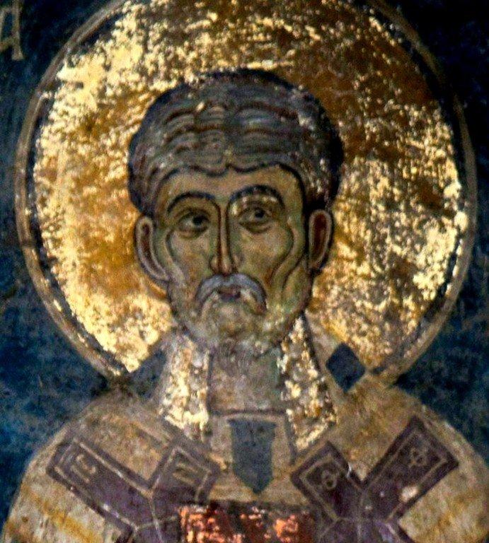 Святой Преподобный Ефрем Сирин. Фреска церкви Святых Архангелов в Кастории, Греция. 1360 год.