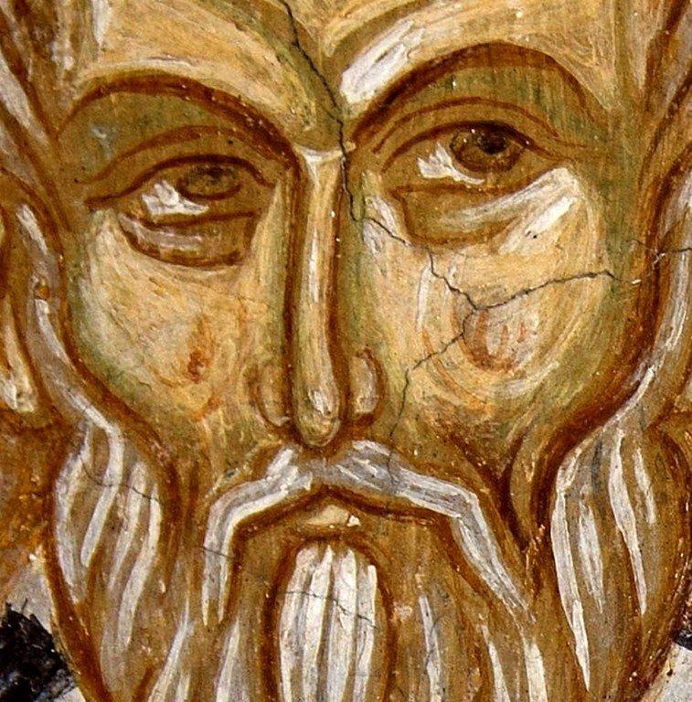 Священномученик Игнатий Богоносец. Фреска церкви Святых Архангелов в Кастории, Греция. 1360 год.