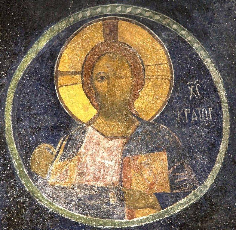 Христос Пантократор. Фреска церкви Святого Стефана в Кастории, Греция. Конец XII - начало XIII веков.