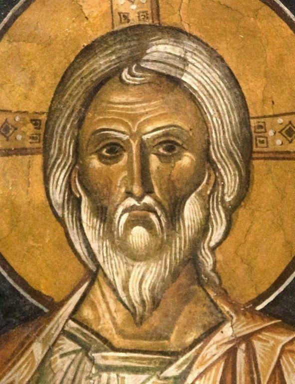 Христос Ветхий денми. Фреска церкви Святого Стефана в Кастории, Греция. Конец XII - начало XIII веков.