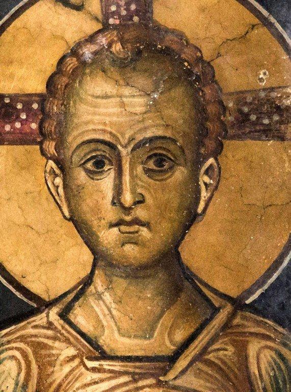 Христос Эммануил. Фреска церкви Святого Стефана в Кастории, Греция. Конец XII - начало XIII веков.