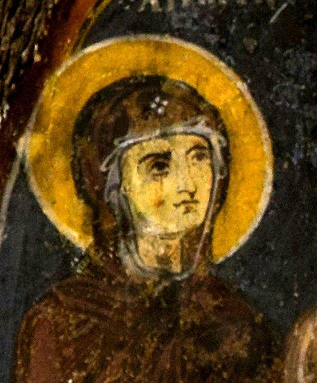 Сретение Господне. Византийская фреска в монастыре Эски Гюмюшлер, Каппадокия. Фрагмент. Святая Праведная Анна Пророчица.