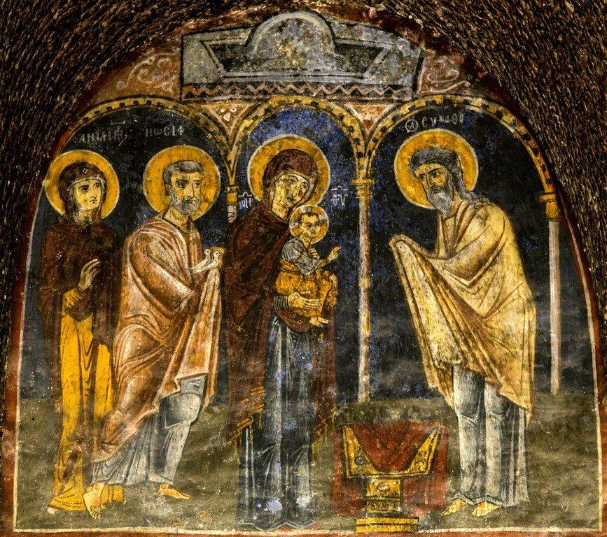 Сретение Господне. Византийская фреска в монастыре Эски Гюмюшлер, Каппадокия.