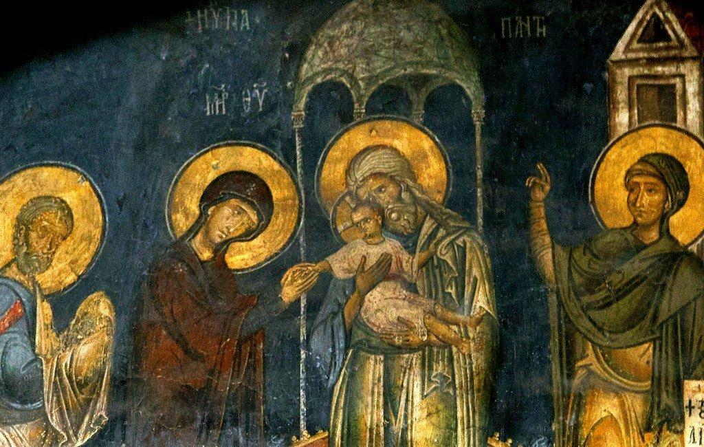 Сретение Господне. Фреска церкви Святого Стефана в Кастории, Греция. Конец XII - начало XIII веков. Фрагмент.