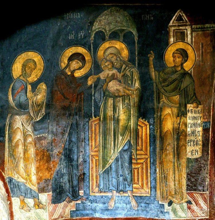 Сретение Господне. Фреска церкви Святого Стефана в Кастории, Греция. Конец XII - начало XIII веков.
