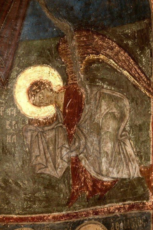 Богоматерь Оранта с припадающими Архангелами Михаилом и Гавриилом. Византийская фреска в церкви Святых Архангелов в Кастории, Греция. Фрагмент. Архангел Гавриил.