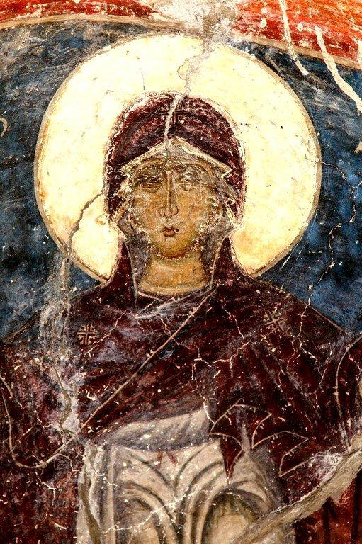 Богоматерь Оранта с припадающими Архангелами Михаилом и Гавриилом. Византийская фреска в церкви Святых Архангелов в Кастории, Греция. Фрагмент.