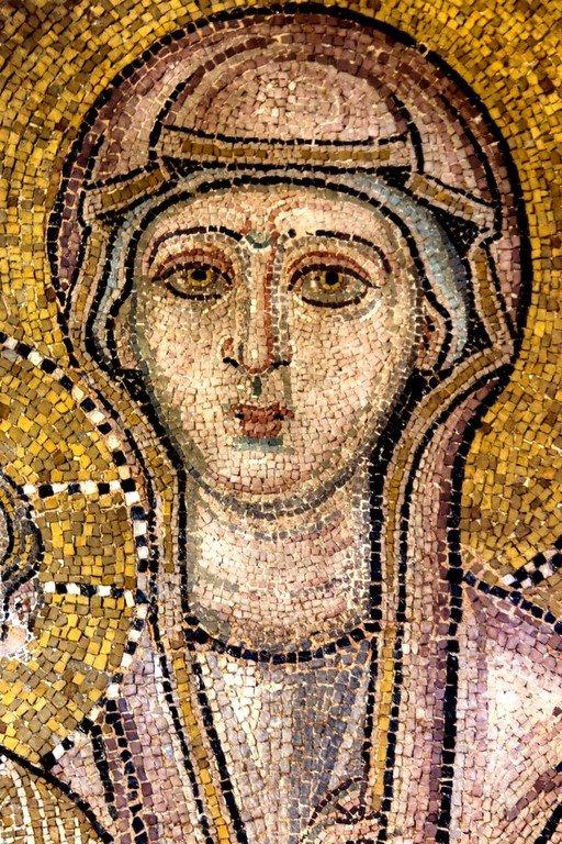 Пресвятая Богородица с Младенцем. Мозаика церкви Порта Панагия близ Трикалы, Греция. Около 1285 года. Фрагмент.