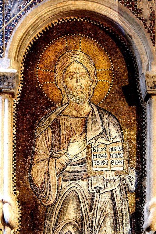 Христос Пантократор. Мозаика церкви Порта Панагия близ Трикалы, Греция. Около 1285 года. Фрагмент.
