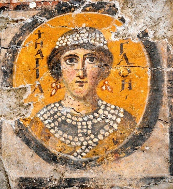 Святая Мученица Агафия Панормская. Византийская фреска из церкви Санта-Мария-Антиква в Риме. VII - начало VIII вв.