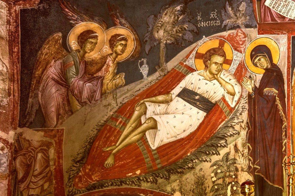 Христос Анапесон (Спас Недреманное Око). Фреска монастыря Святого Иоанна Предтечи близ Серр, Греция. 1345 - 1370 годы.