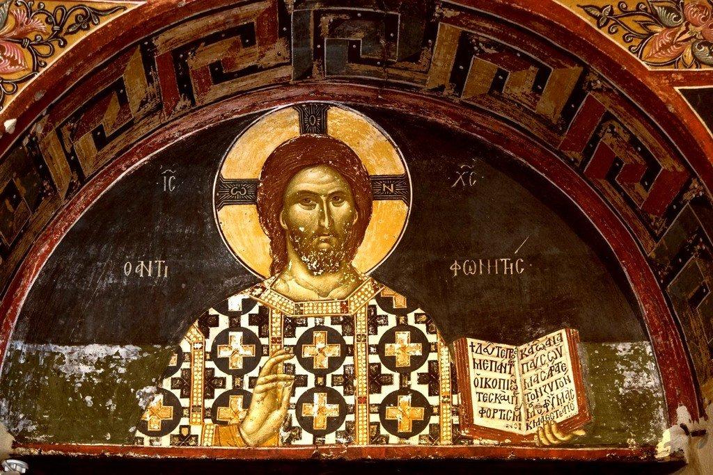 Христос Антифонитис (Отзывающийся). Фреска монастыря Святого Иоанна Предтечи близ Серр, Греция. 1345 - 1370 годы.
