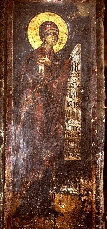 Богоматерь Агиосоритисса (Параклесис). Фреска церкви Святых Врачей в Кастории, Греция. Конец XII века.