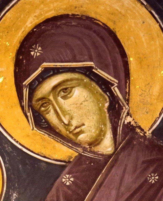 Богоматерь Кехаритомени (Благодатная). Фреска монастыря Святого Иоанна Предтечи близ Серр, Греция. 1345 - 1370 годы. Фрагмент.