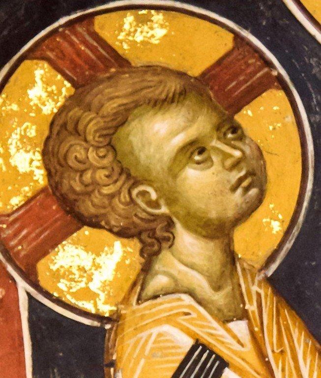 Богоматерь Кехаритомени (Благодатная). Фреска монастыря Святого Иоанна Предтечи близ Серр, Греция. 1345 - 1370 годы. Фрагмент. Лик Богомладенца.