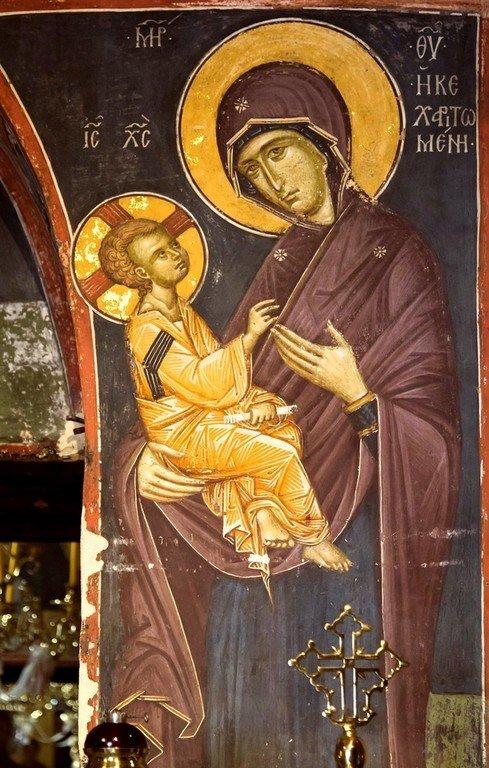 Богоматерь Кехаритомени (Благодатная). Фреска монастыря Святого Иоанна Предтечи близ Серр, Греция. 1345 - 1370 годы.