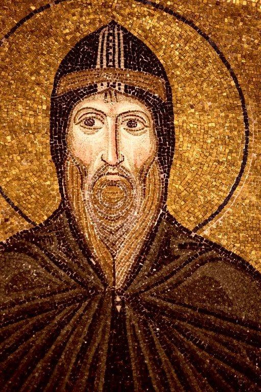 Святой Преподобный Лука Елладский. Мозаика монастыря Осиос Лукас, Греция. 1030 - 1040-е годы.