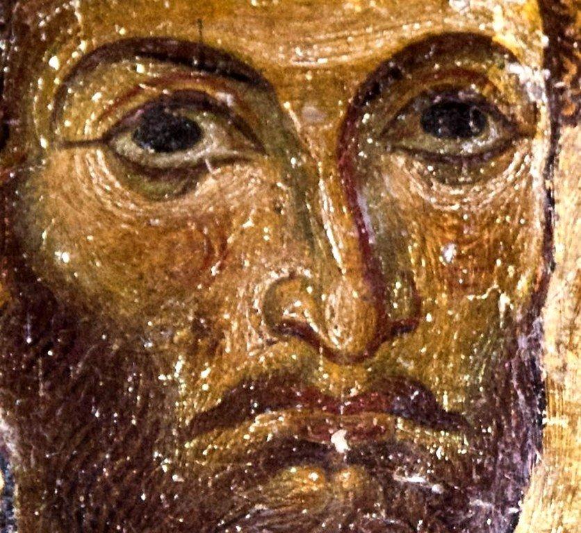 Святой Великомученик Феодор Стратилат. Фреска церкви Святых Врачей в Кастории, Греция. Конец XII века.