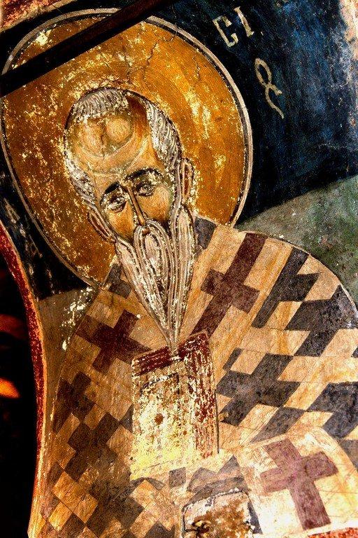 Священномученик Власий, Епископ Севастийский. Византийская фреска в церкви Святых Архангелов в Кастории, Греция.