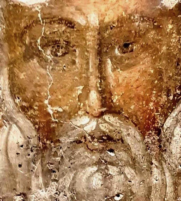 Священномученик Власий, Епископ Севастийский. Фреска церкви Святого Власия в Верии, Греция. Начало XIV века.